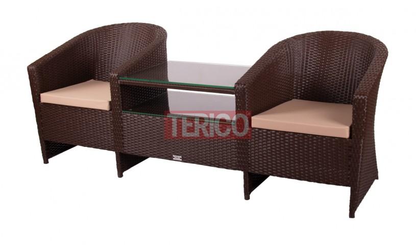 Кресло из ротанга Барселона Дабл (2 кресла+стол)2050х750х810h